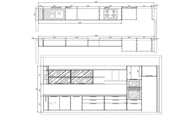 2D DWG Drawing Of Kitchen Elevation And Plan AutoCAD File