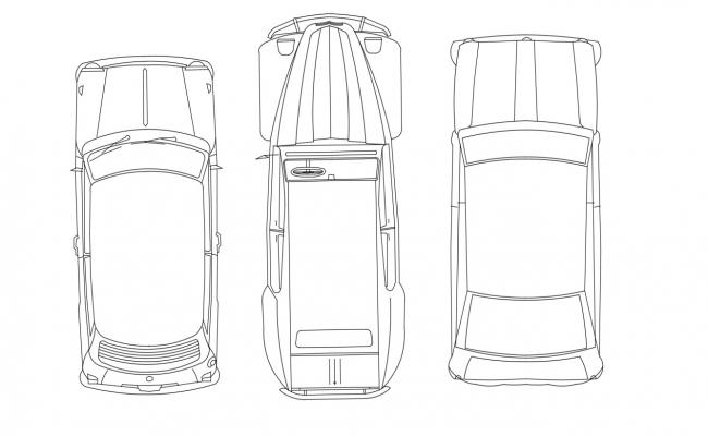 2D DWG Three Cars Plan Autocad Free Download