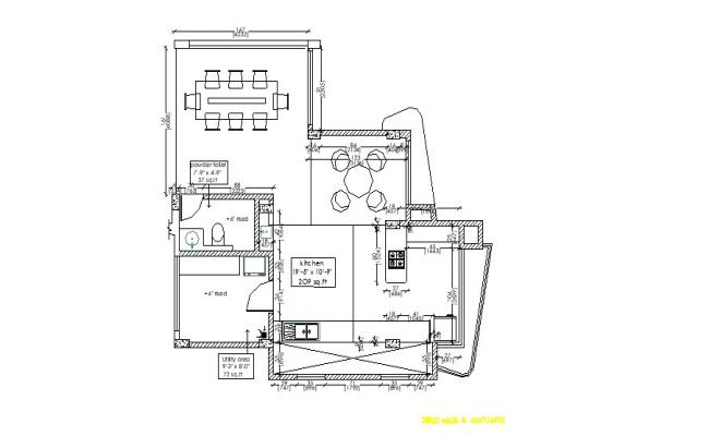 2D Drawing of furniture layout plan of kitchen 19'-5'' x 10'-6'' in AutoCAD