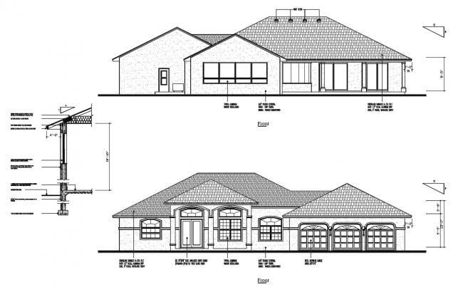 2D House Elevation Design CAD Drawing
