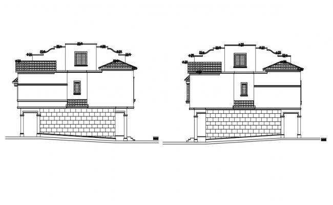 2D House Elevation Design DWG File
