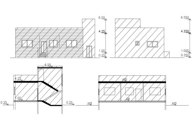 2D House Sectional Elevation Design Free CAD Drawing