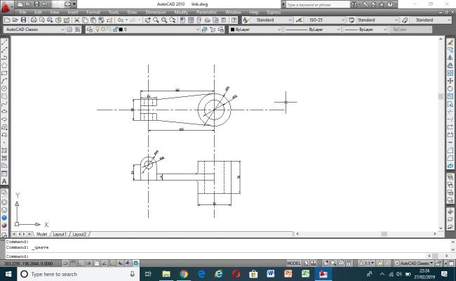 2D autocad drawing of link mechanical part
