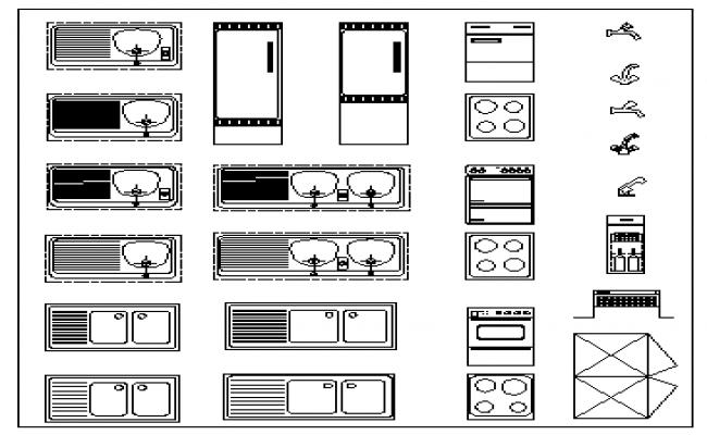 2D block design of kitchen appliance block