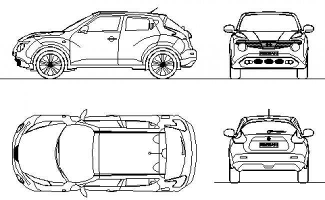 2D block of auto Nissan car design drawing