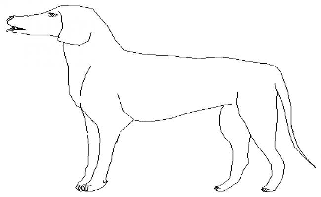 2D block of block dog drawing