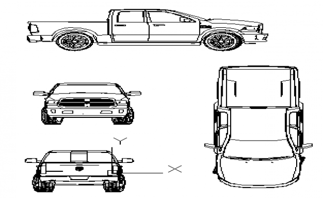 2D block of heavy vehicle design drawing