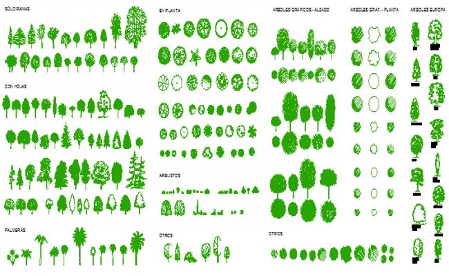 2D block vegetation trees design drawing