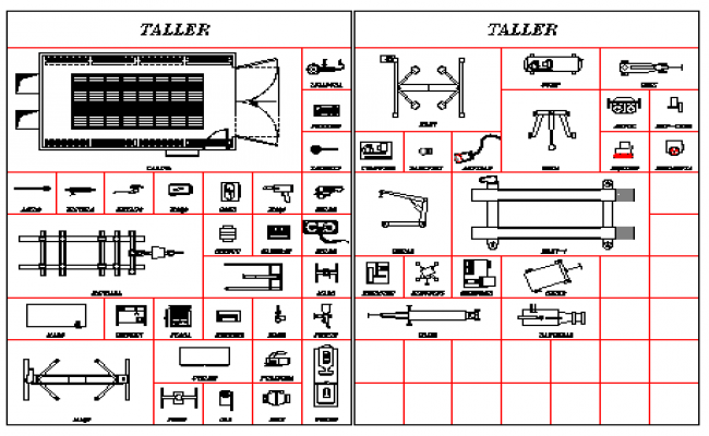 2D blocks of shops tools design drawing
