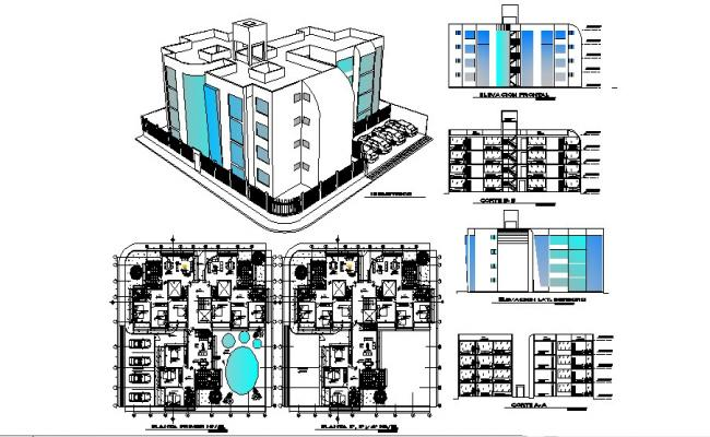 2D drawing of residential Flat with elevation in dwg file