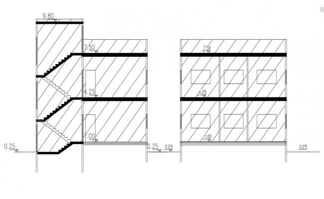 2D House Building Section Drawing Free DWG File