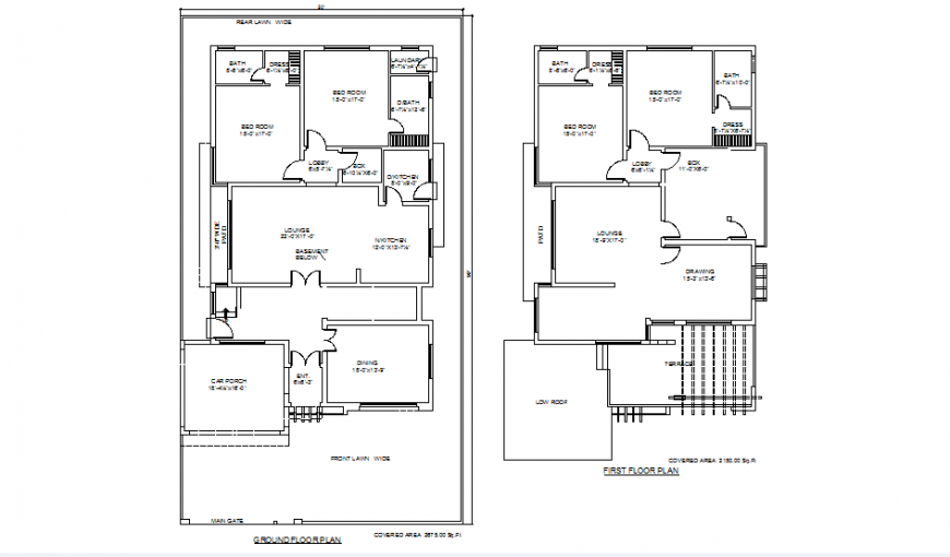 2 BHK Ground floor and frost floor house plan