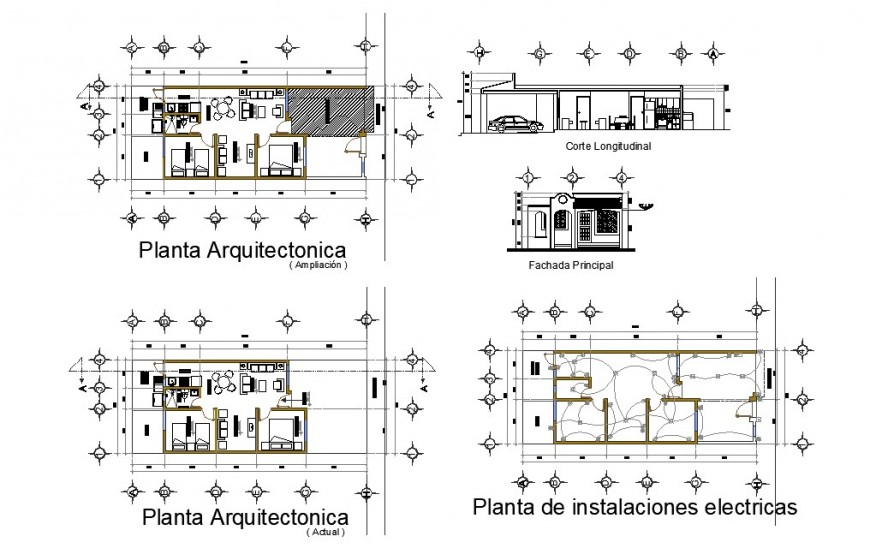 2 bhk house detail elevation, plan and section of house layout autocad file