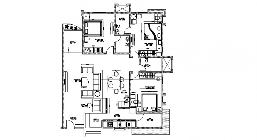 2 BHK one family house architecture layout plan with furniture cad drawing details dwg file