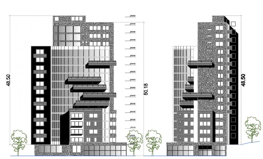 2 d  cad drawing of housing tower auto cad software