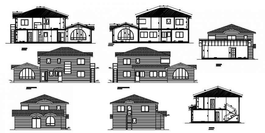 2 d cad drawing elevation of bungalow auto cad software