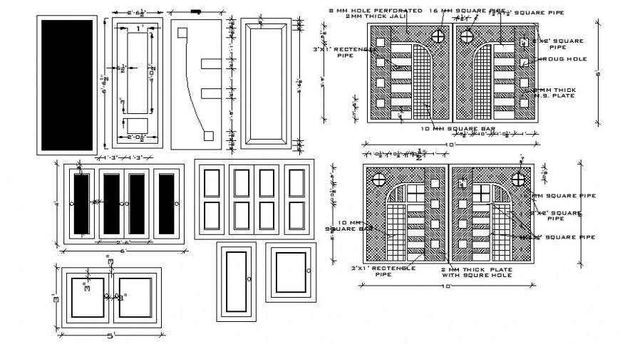2 d cad drawing house main door design Auto Cad software