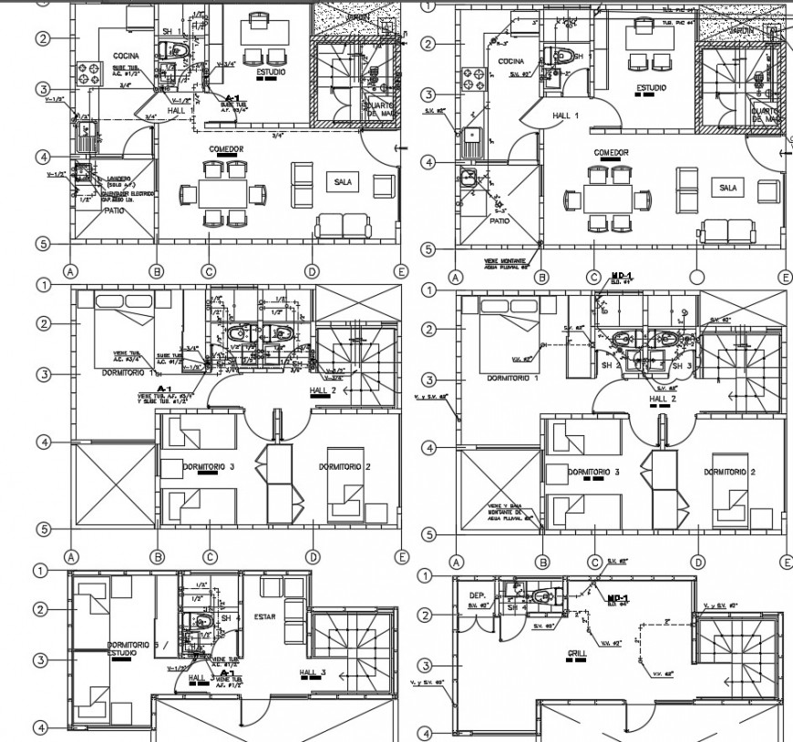 2 d cad drawing modular house Auto Cad software