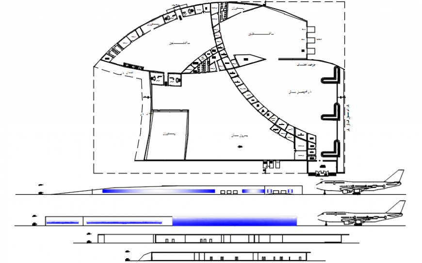 2 d cad drawing of airport elevation Auto Cad software