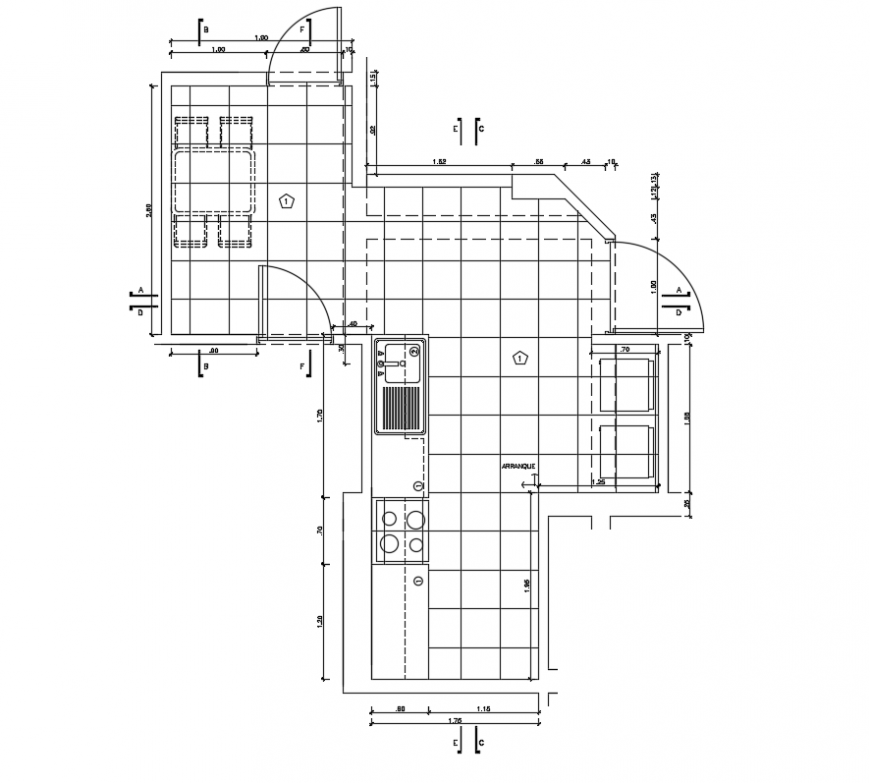 2 d cad drawing of apartment furniture layout air conditioner Auto Cad software