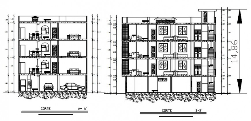 2 d cad drawing of apartment house elevation auto cad software