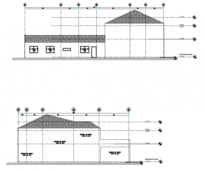 2 d cad drawing of back elevation auto cad software