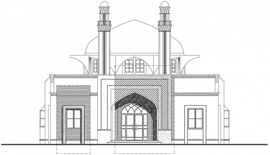 2 d cad drawing of back elevation mosque auto cad software