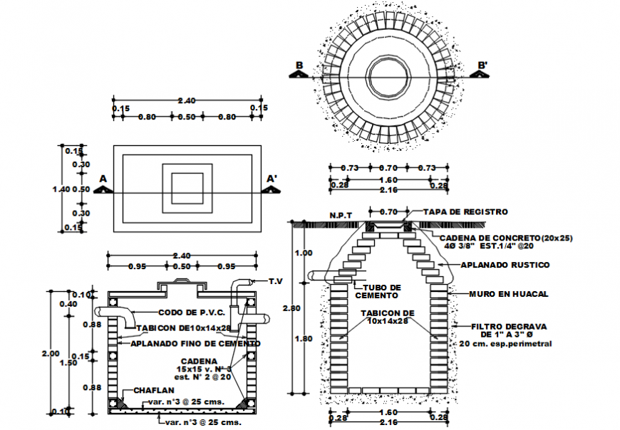 2 d cad drawing of brick pipelines Auto Cad software