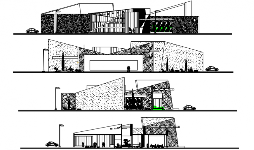 2 d cad drawing of communication elevation Auto Cad software
