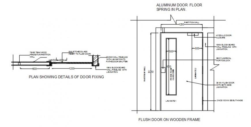 2 d cad drawing of door fixing Auto Cad software