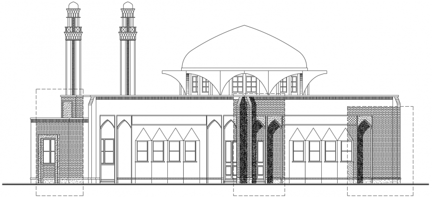 2 d cad drawing of elevation 2 Auto Cad software