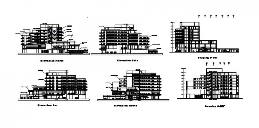 2 d cad drawing of elevation and section building auto cad software