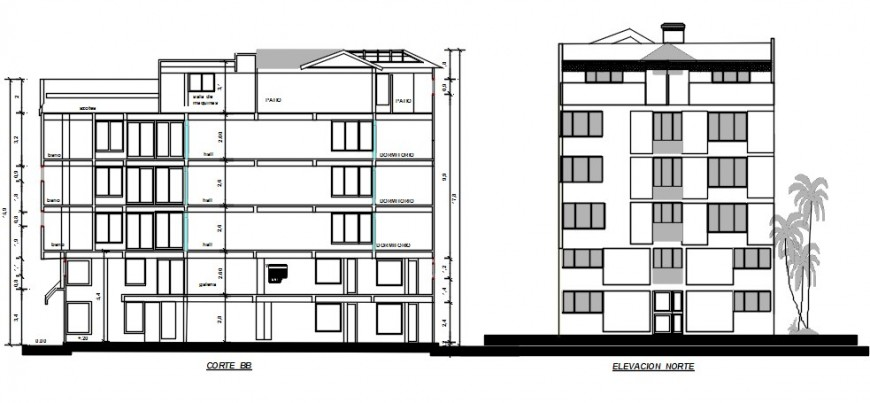 2 d cad drawing of elevation building plan 2 exterior auto cad software