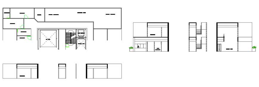 2 d cad drawing of elevation with two buildings auto cad software