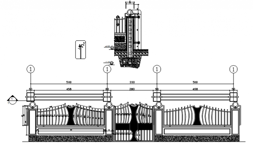 2 d cad drawing of entrance gate front view Auto CAD software