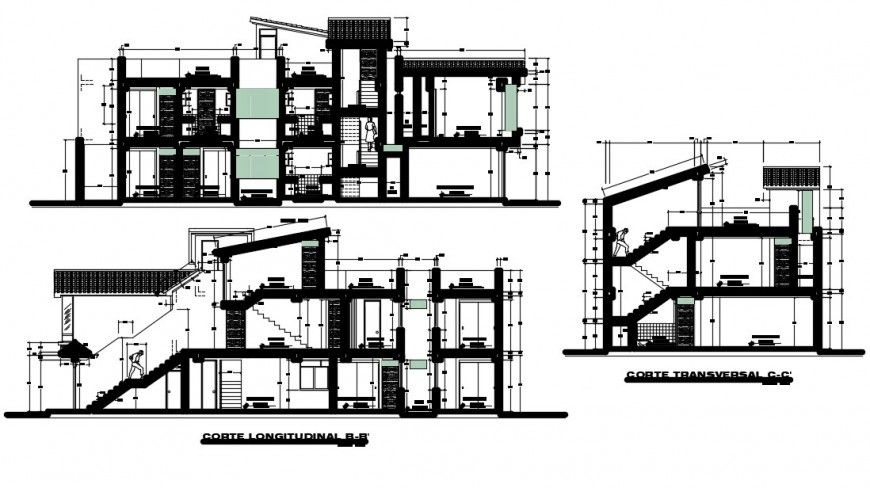 2 d cad drawing of family housing elevation  between walls auto cad software