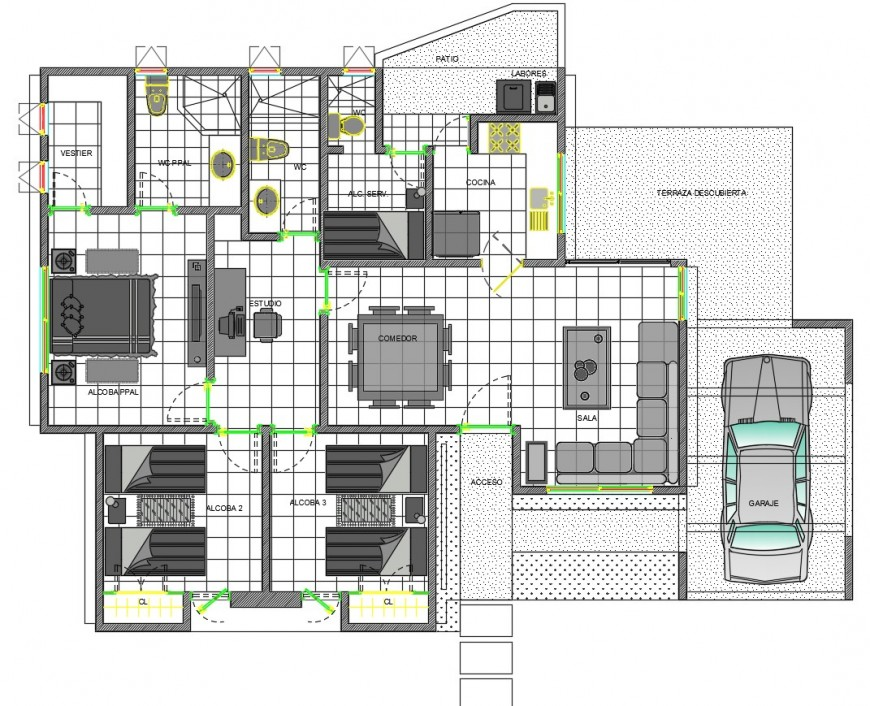 2 d cad drawing of general house plan Auto Cad software
