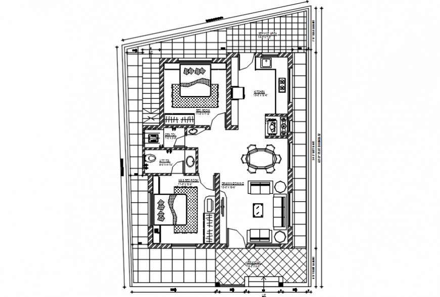 2 d cad drawing of ground floor plan 3 house Auto Cad software