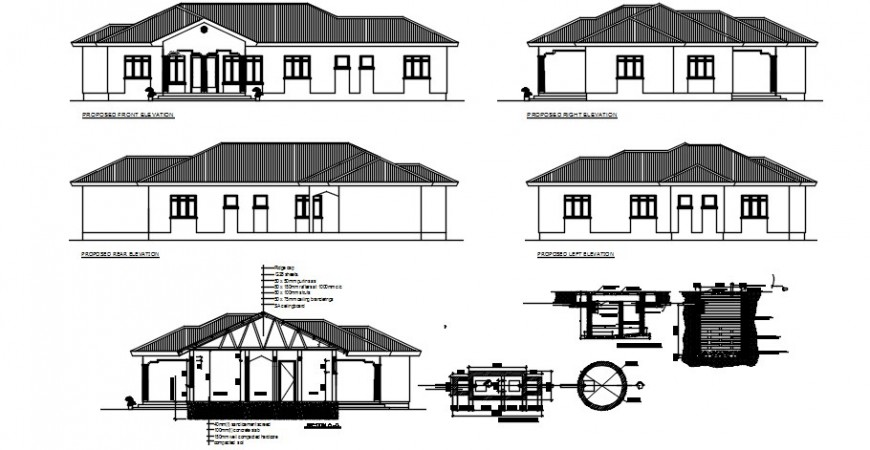 2 d cad drawing of guest house auto cad software