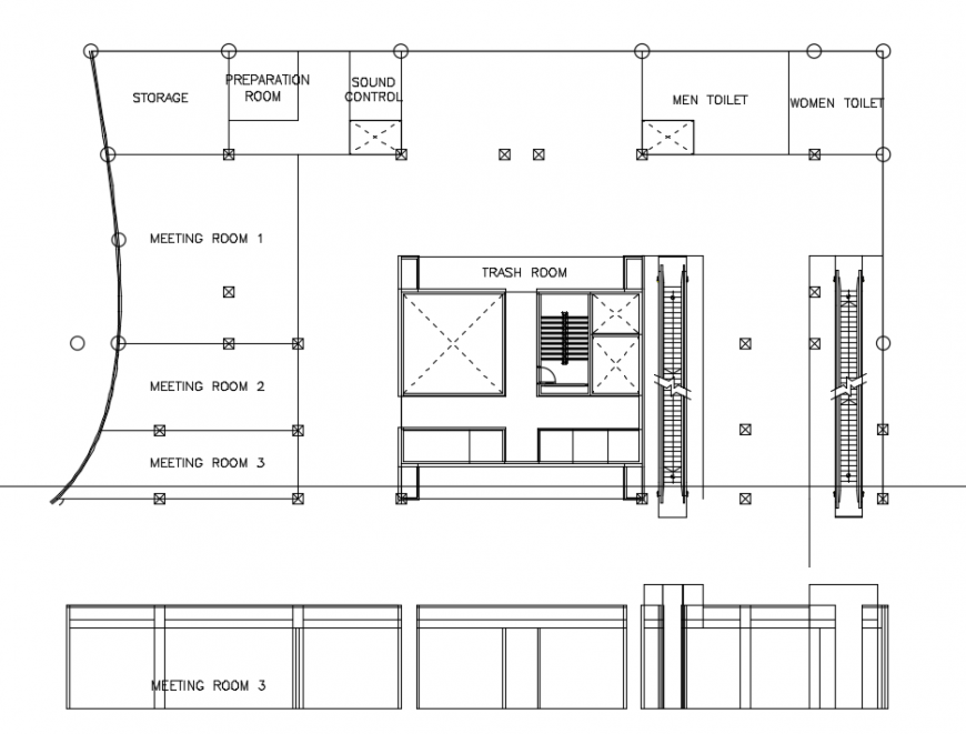 2 d cad drawing of hall  tower plan auto cad software