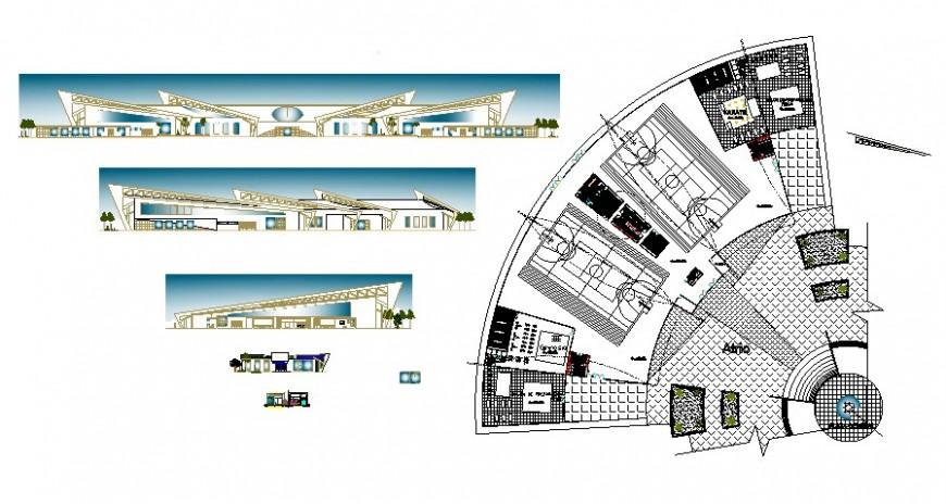 2 d cad drawing of hospital exterior elevation Auto Cad