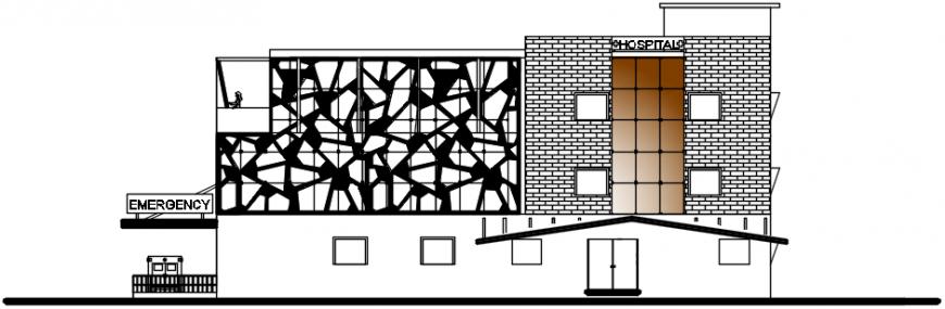 2 d cad drawing of hospital exterior elevation Auto Cad software
