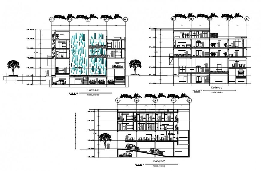 2 d cad drawing of Hostel Mexico city auto cad software