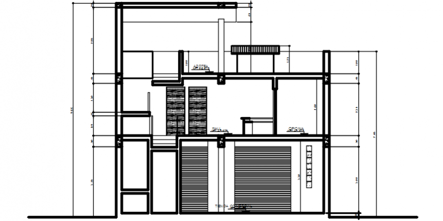 2 d cad drawing of hostel section cut Auto Cad software