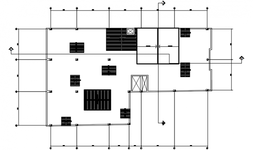 2 d cad drawing of hostel section hatch Auto CAD software