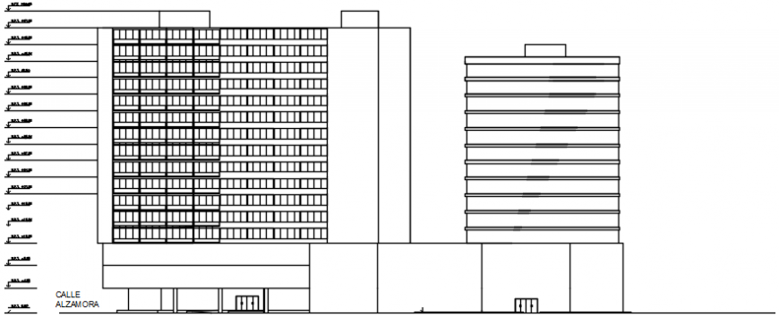 2 d cad drawing of hotel building  view Auto Cad software