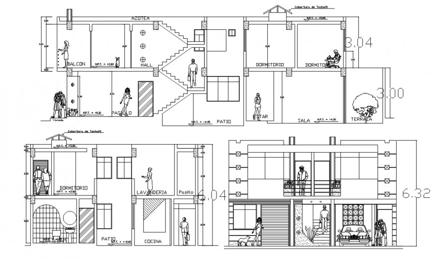 2 d cad drawing of house exterior elevation auto cad software
