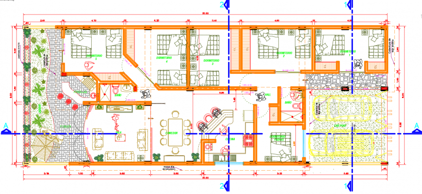 2 d cad drawing of house furniture layout 2 Auto Cad software