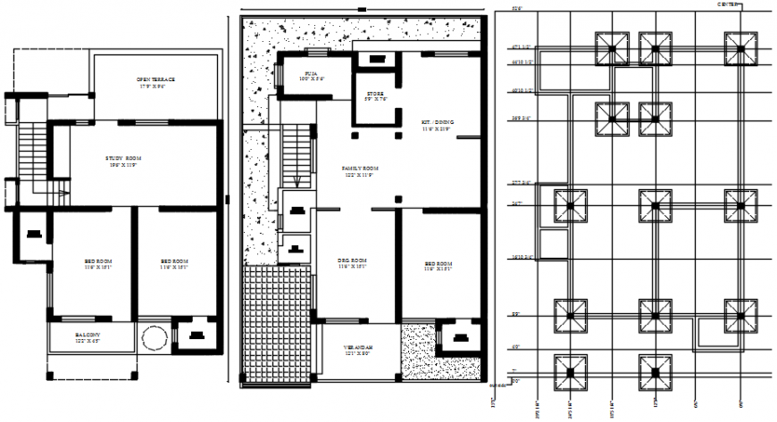 2 D cad drawing of house layout plan Auto CAD software file