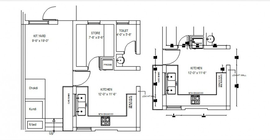 2 d cad drawing of house plan with kitchen layout Auto cad software